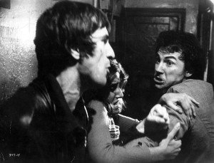 """In an undated handout photo, Robert De Niro, Amy Robinson and Harvey Keitel in Martin Scorsese's 1974 film """"Mean Streets."""""""